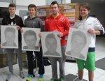 V. l. : Die Halbfinalisten des U21 Nachwuchsturniers - Leon Hoppstädter, Nikola Boskov, David Rebholz und Noah Rockstroh